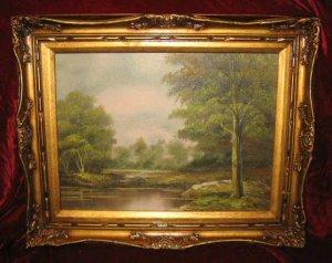Vintage Lake Scenery Oil Painting on Canvas Gold Frame Anco Bilt Erik Signed