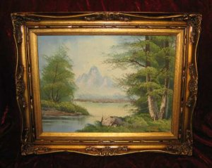 Vintage Lake Scenery Oil Painting on Canvas Gold Frame Anco Bilt Haiwrf Signed