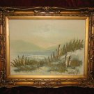 Vintage Beach Scenery Oil Painting on Canvas Gold Frame Anco Bilt Signed Killy