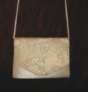 Vintage Beaded White Purse Handbag Evening Clutch Bag
