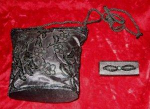 Vintage Black Purse Handbag Evening Bag + Lipstick Holder Case