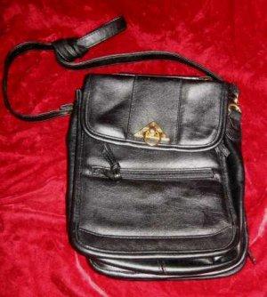 Black Vinyl Purse Handbag Messenger Shoulder Bag