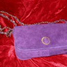 Purple Suede Leather Purse Handbag Shoulder Evening Bag