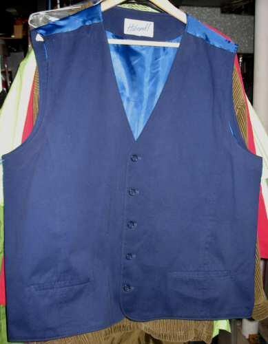Vintage Haband Suede Satin Blue Vest Clothing 46