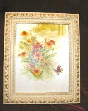 Vintage Chic Framed Art Print Sunflower Butterfly Shabby
