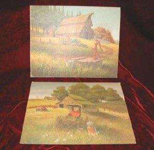 2 Chic Vintage Print Shabby Country Farm Red Barn