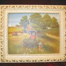 Vintage Chic Framed Print Shabby Country Barn Farm Carriage