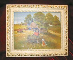 Vintage Chic Framed Print Shabby Country Barn Farm Carriage