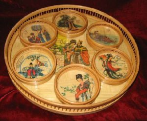 Vintage 7pc Bamboo Chinese Serving Tray Coasters Set