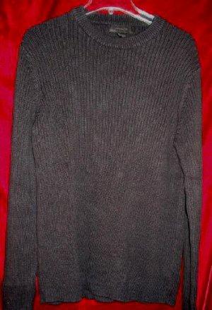 Mens Express Black Crew Sweater Fleece Shirt L