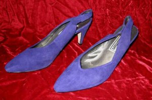 Vintage Jasmin Purple Suede Leather Shoes Pump Heel 8.5