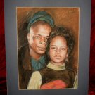 Marvelous Original  Father & Daughter Drawing Painting Art Matted
