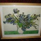 Vincent Van Gogh Irises Gold Wooden Framed Art Print Poster Vase