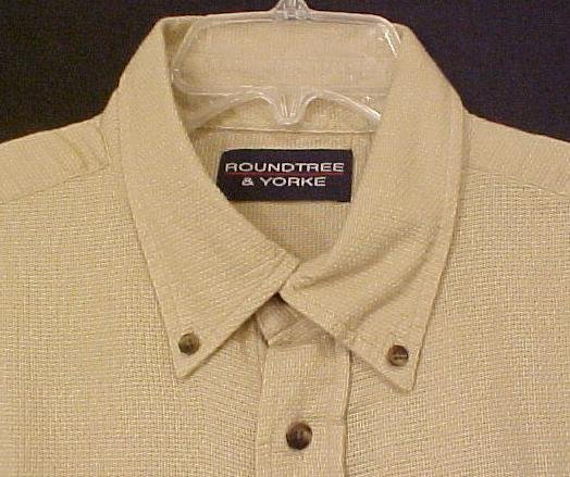 New Button Down Collar Short Sleeve Shirt Putty Sz 2XLT 2XT Big Tall Mens Clothing 600341