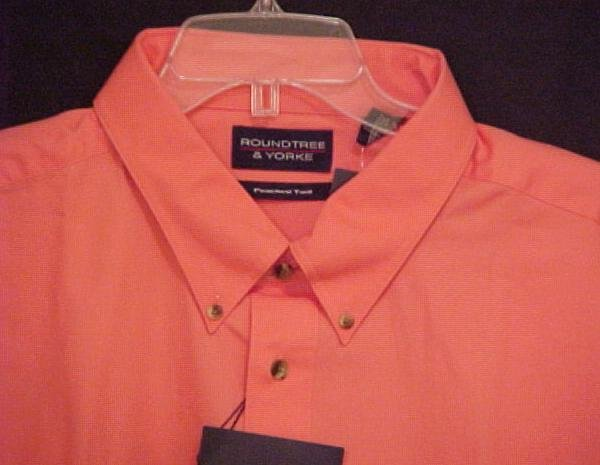 New Peached Twill Cotton Button Down Short Sleeve Shirt Peach 2XL 2X Big Tall Mens Clothing 600381