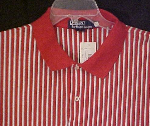 Ralph Lauren Polo Golf Shirt Short Sleeve Red Stripe 2XL 2X Big Tall Men's Clothing 601191