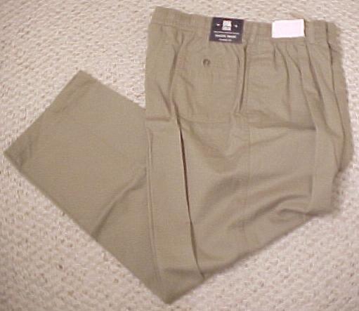 New Classic Fit Pants Tan Khaki Elastic Waist 48 X 32 Big Tall Mens Clothing 701951
