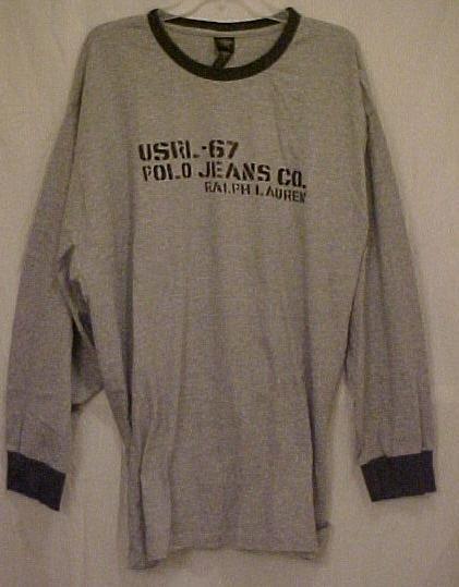 New Ralph Lauren Polo Jeans Gray Long Sleeve Aviator T-Shirt 3XLT 3XT Big Tall Men Clothing 702041