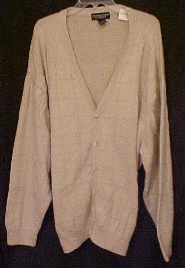 New Tan Cardigan Sweater Button Down Long Sleeve V Neck 3XL 3X Big Tall Mens Clothing 702091