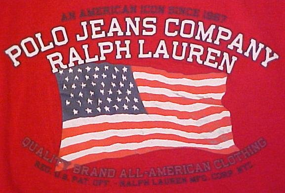 New Ralph Lauren Polo Jeans Red Black Ringer Flag T-Shirt 2XL 2X Big Tall Mens Clothing 702541