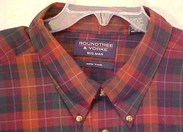 New Roundtree & Yorke Button Down Long Sleeve Shirt 40's Twill 4X 4XL Big Tall Men's Clothing 702601