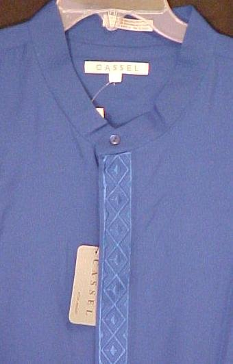 Royal Blue Band Collar Long Sleeve Shirt Size 3X Urban Fashions Big Tall Mens Clothing 803061