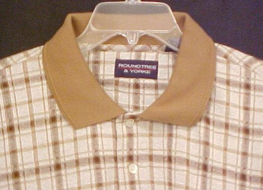 New Polo Style Shirt Pull Over Collar Tan Plaid 2XL 2X  Big Tall Mens Clothing 803341-2