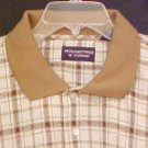 New Polo Style Shirt Pull Over Collar Tan Plaid 4XL 4X Big Tall Mens Clothing 803351
