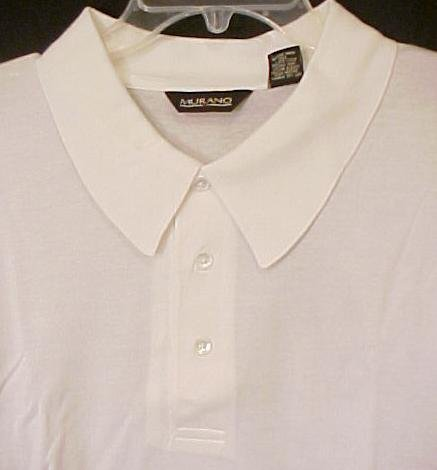 Murano Polo Shirt Pull Over Golf Collar White Size 4XL 4X Big Tall Men's Clothing 803521