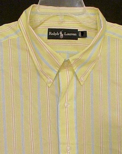 Ralph Lauren Button Down Shirt Short Sleeve Size 3XLT 3XT Big Tall Men's Clothing 32401-3