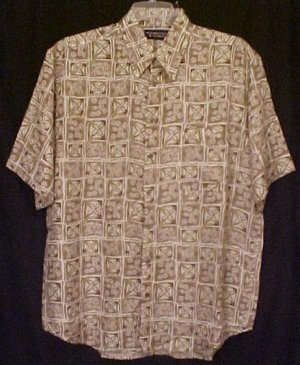 Silk Button Front Short Sleeve Shirt Size LT Large Tall Big Tall Men's Clothing 32071