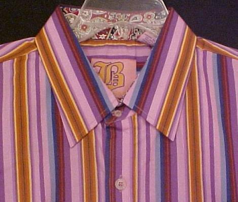 New Purple Stripe Long Sleeve Shirt Size 2XL 2X XXL Big Tall Mens Clothing 904631