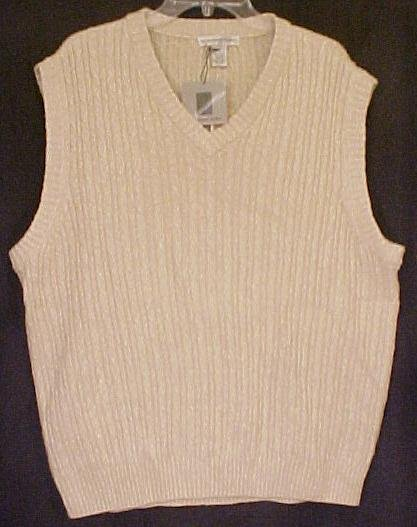 NEW Tan Pull OVer V Neck Sweater Vest GOLF Size 48 Big Tall Mens Clothing 107281