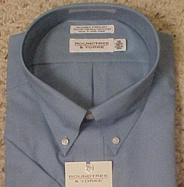 New Dress Shirt Blue Short Sleeve Size 19 Big Men's Clothing 811681