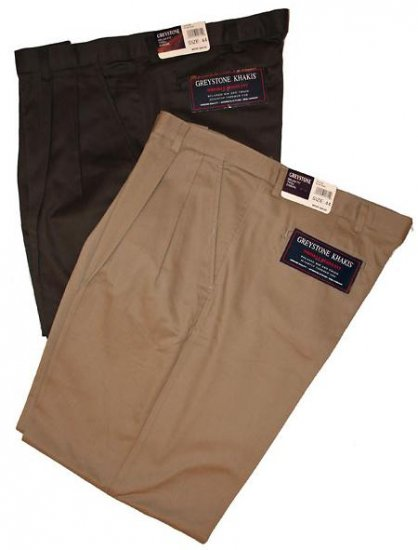 Roundtree & Yorke Classic Fit Pleated Green Pants 42 X 30 Big Tall Mens Clothing  410601