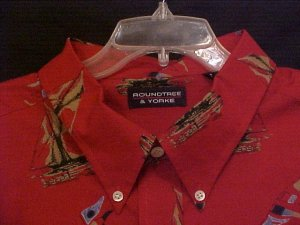 Big Tall Mens Casual Button Down Shirt Short Sleeve Size 4XT 4XLT Sail Boats - 913881