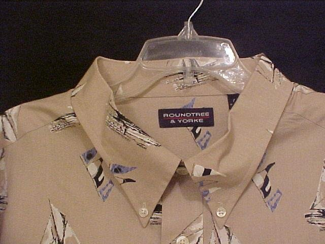 Big Tall Mens Casual Button Down Shirt Short Sleeve Size 4XT 4XLT Sail Boats - 913891