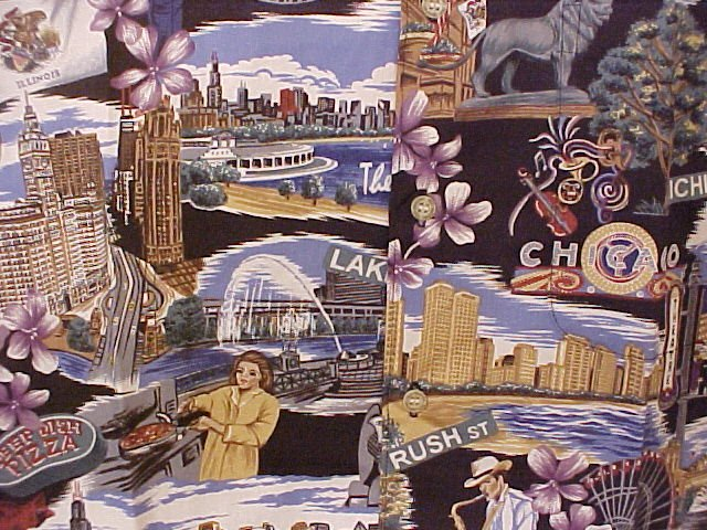 NEW Reyn Spooner Hawaiian Shirt Windy City Chicago Print 6XL 6XB 6X  Big Tall Mens Clothing 919461