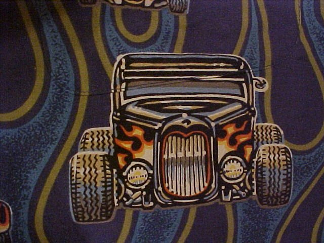 Big & Tall Old School Hot Rod Print Reyn Spooner Hawaiian Aloha Shirt 3X 3XL 3XB - 919301