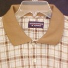 New Polo Style Shirt Pull Over Collar Tan Plaid 4XLT 4XT Big Tall Mens Clothing 920130