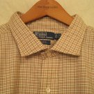 Tan Plaid Ralph Lauren Button Down Shirt Long Sleeve 3X 3XL 3XB Big Tall Mens Clothing 921751