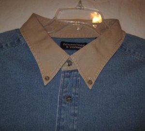 Denim Button Down Shirt Long Sleeve Khaki Collar 3X 3XL 3XB Big Tall Mens Clothing 921901 3