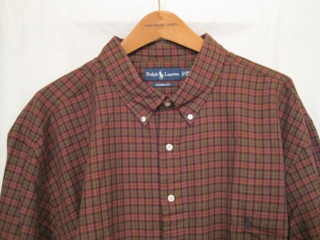 Brown plaid ralph lauren button down shirt long sleeve 3x for Mens tall button down shirts