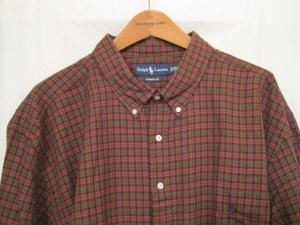 Brown Plaid Ralph Lauren Button Down Shirt Long Sleeve 3X 3XL 3XB Big Tall Mens Clothing 922191