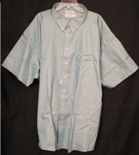 New Dress Shirt Green Short Sleeve Size 19 Big Men's Clothing 922591 6