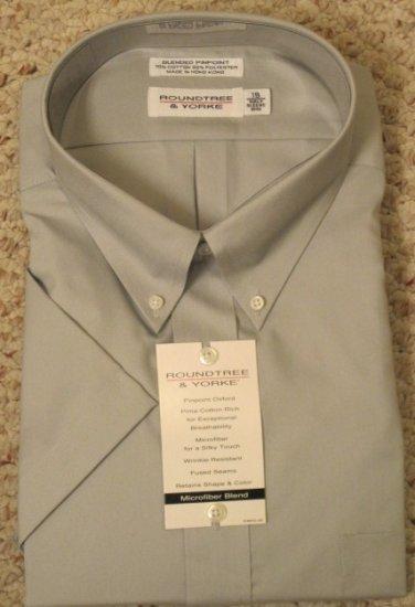 New Dress Shirt Gray Short Sleeve Size 19 TALL Men's Clothing 922681
