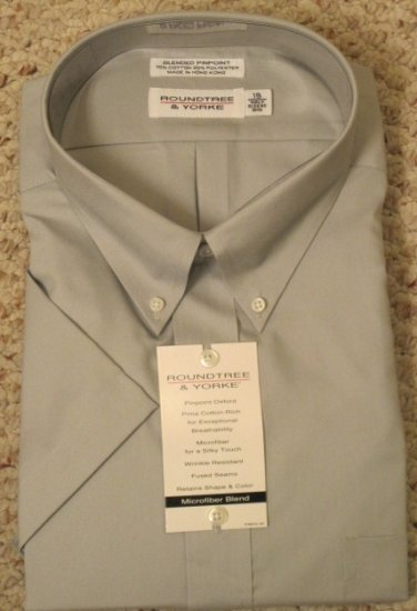 New Dress Shirt Gray Short Sleeve Size 18.5 Big Men's Clothing 922671 5