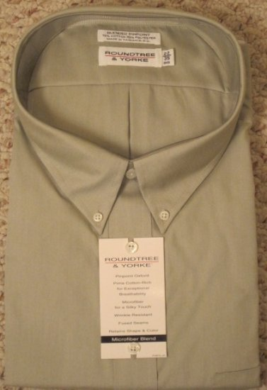 Roundtree & Yorke Taupe Dress Shirt Long Sleeve Size 22 - 35 Big Mens Clothing 922651 2