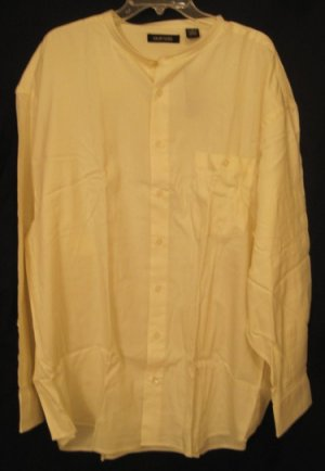 Ivory Band Collar Long Sleeve Shirt Size 3X Urban Fashions Big Tall Mens Clothing 924771