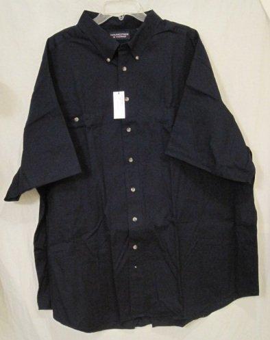 New navy blue cotton button down short sleeve shirt 4xl 4x for Mens tall button down shirts